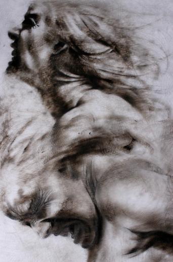 Clara Lieu, etching ink & lithographic crayon drawing on Dura-Lar, Falling series