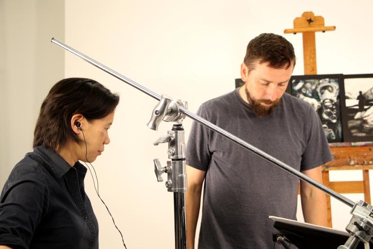 Clara Lieu & Alex Hart on set